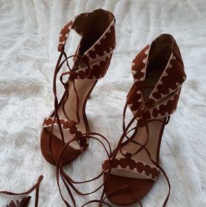 Brown open suede lace up heels